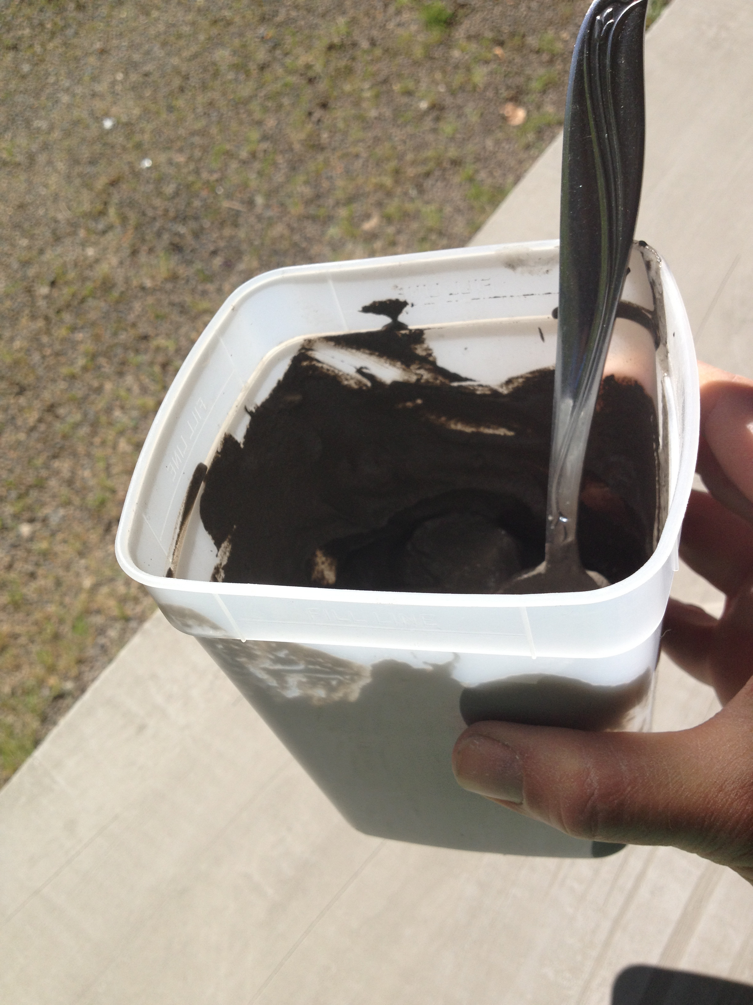 No need for buckets and trowels; I used a plastic container and spoon.