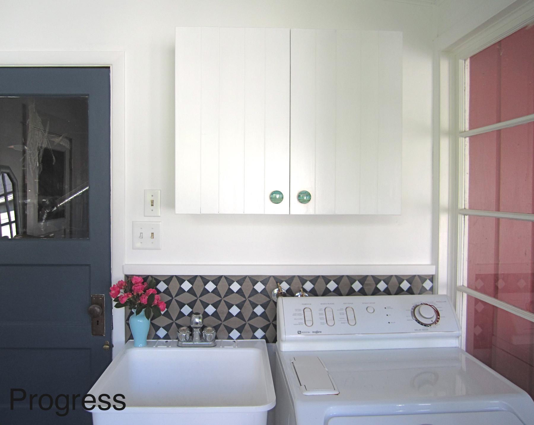 Laundry Room Progress with DIY backsplash