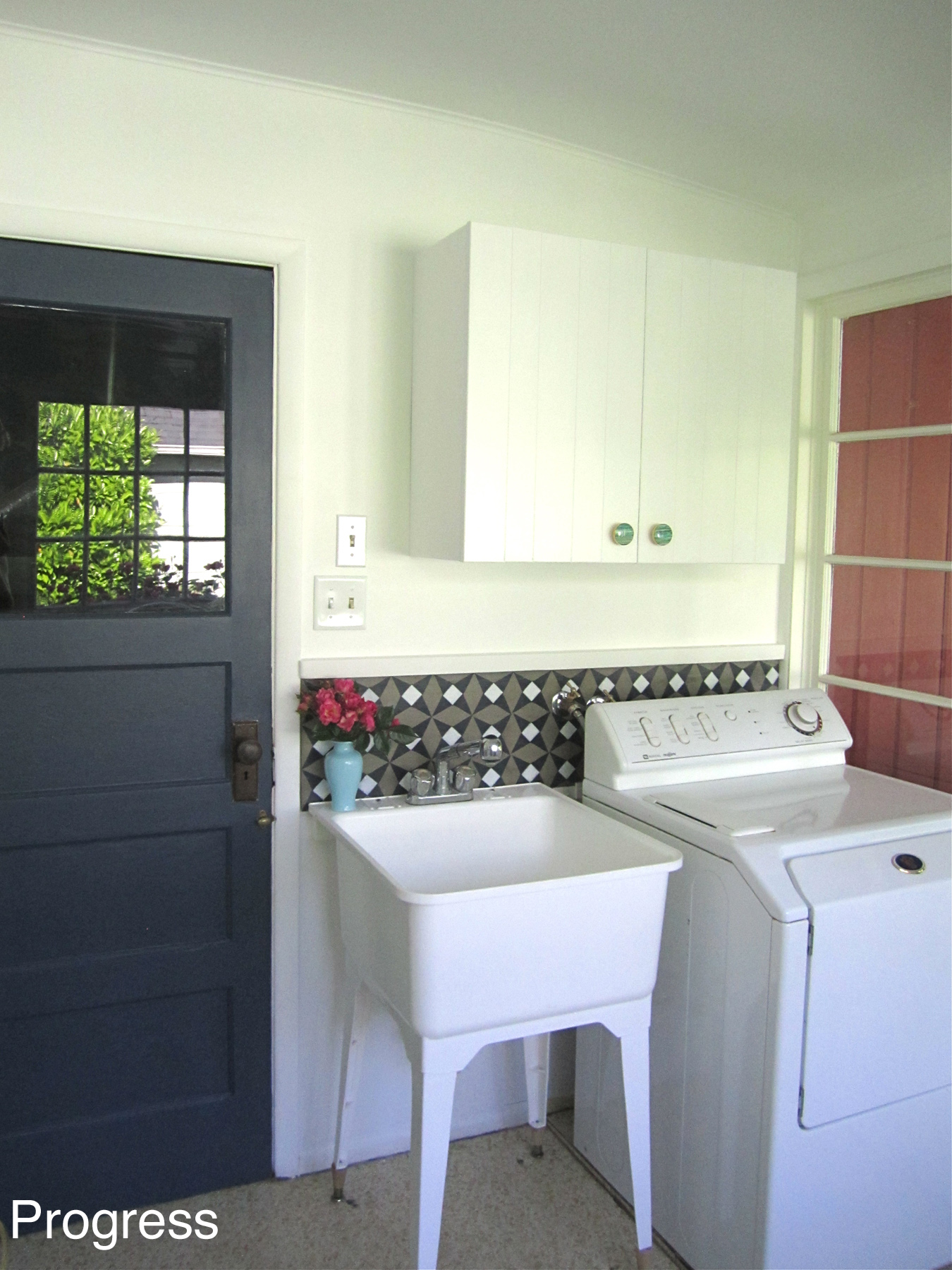 Laundry Room Progress with DIY Concrete Backsplash